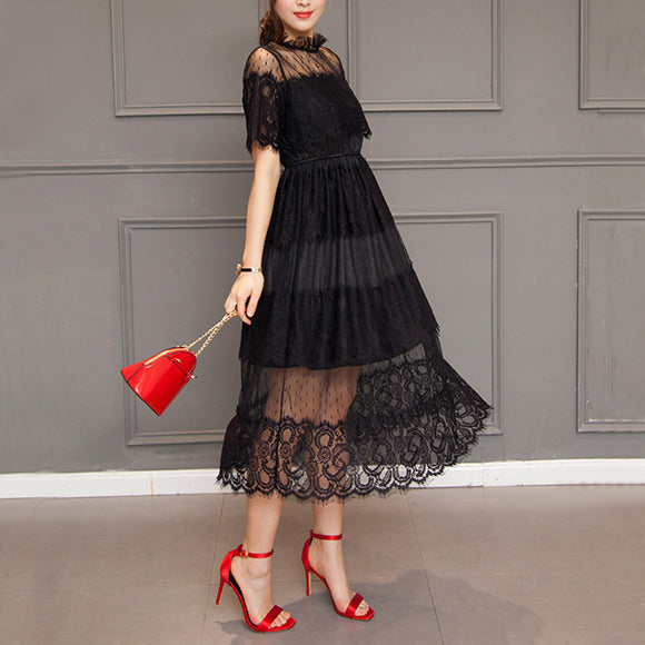 Women's Aline Stand Collar Solid Color Lace Dress