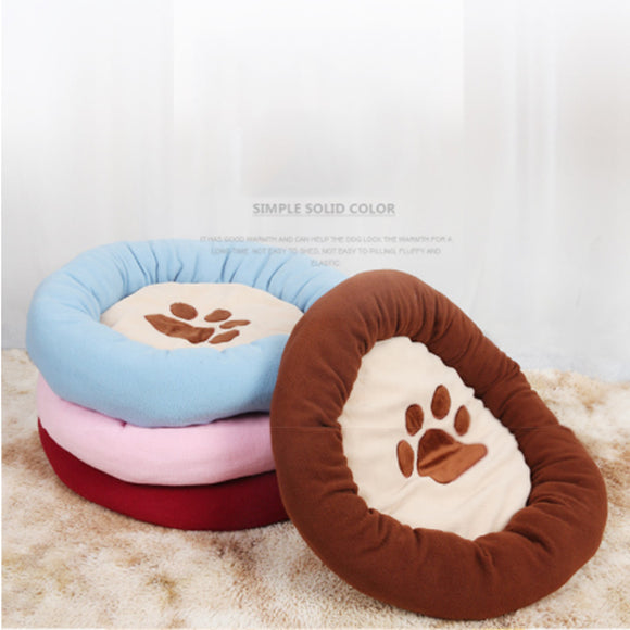 Autumn And Winter Thick Warm Round Cotton Velvet Footprints Kennel