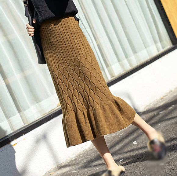 Casual Sheath Knit Bottom Skirt