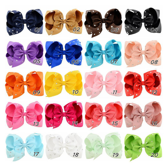 Kids Candy Color Headwear Hairpin Set Bowknot Hot Fix Rhinestone Hairpin Accessories