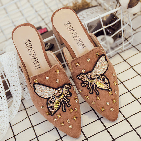 Crystal Rivet Pointed Sandals Shoes Handmade Tailor Embroidery Sandals