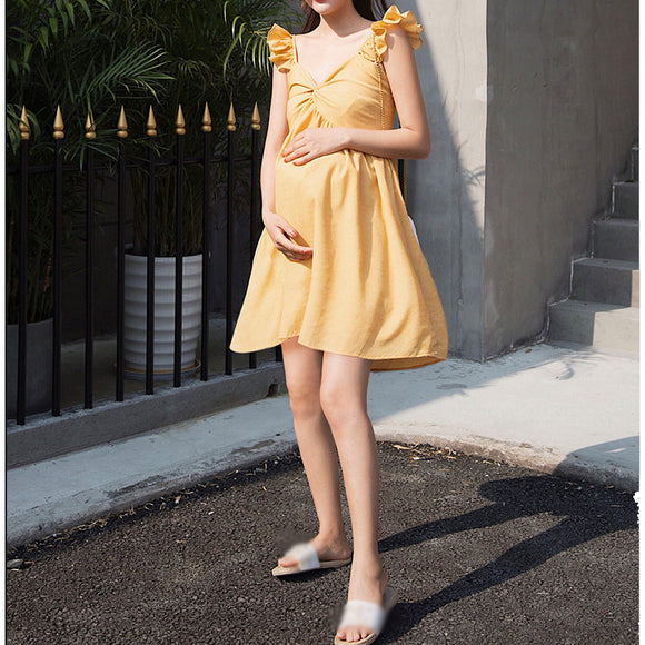 Women Summer Chiffon Sleeveless Dress Ruffle Sexy  Maternity Dress Fashion Clothes for Pregnant Wear