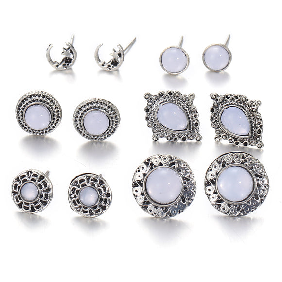 6 Pair Women Luxury Retro Opal Earrings