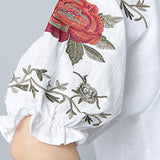 Women's Blouse Bat Sleeve Embroidery Loose Cotton Top