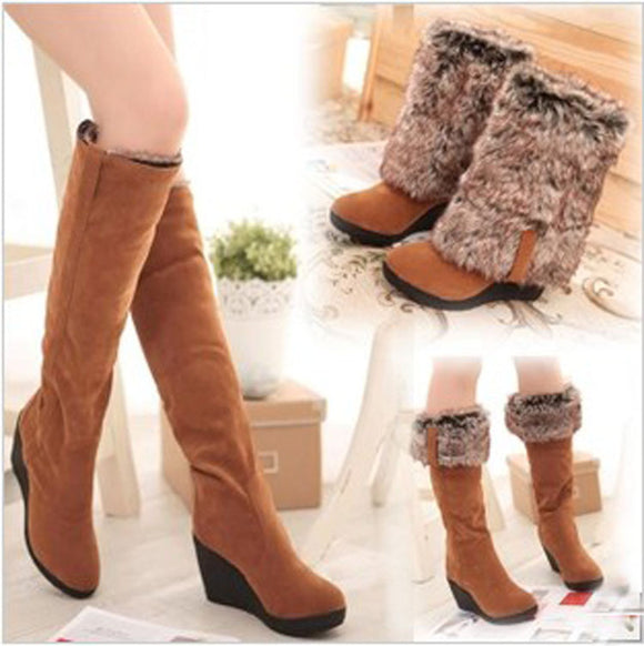 Women's Fashion Autumn Winter Warm High-heeled Snow Boots Casual Shoes