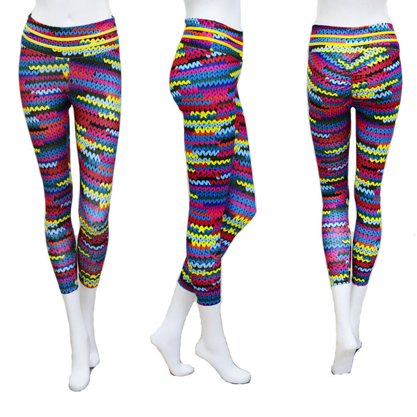 Knitting Print Patchwork Leggings Knit Printing With 2 Yellow String On Waist Yoga Pants