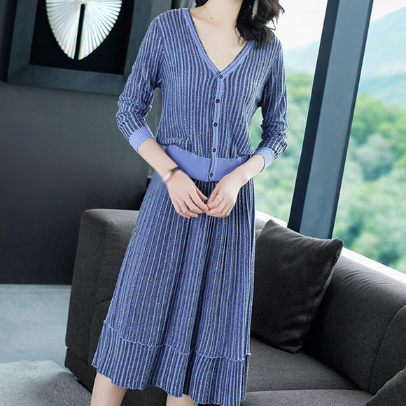 Shift V neck Long Sleeve Casual Solid Top With Pleated Skirt Two Pcs a Set