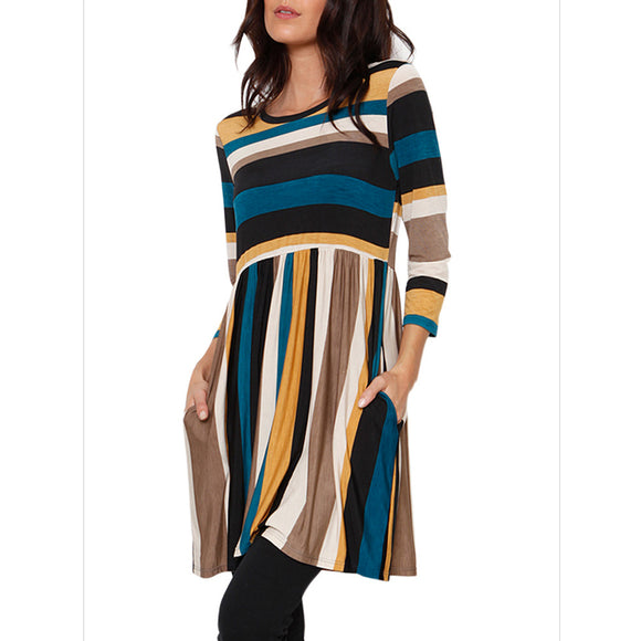 Women Fashion Round Neck High Waist Striped Dress