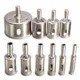 10pcs 6-30mm Diamond Coated Core Hole Saw Drill Bit Set Tools For Tiles Marble Glass Ceramic