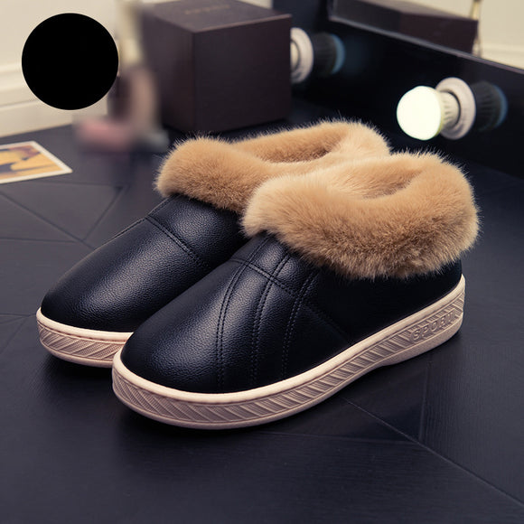 Winter PU Leather Non-slip Waterproof Warm Thick Bottom Cotton Slippers