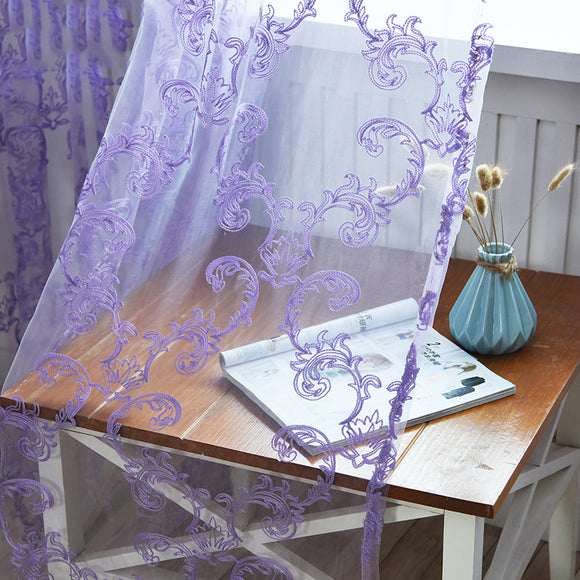 Phoenix Flower Rod Embroidered Window Screening Bedroom Curtains