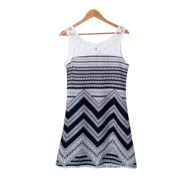 Women Summer Dress Fashion Casual Floral Lace Patchwork Sleeveless Tunic Dresses