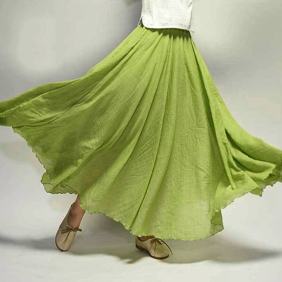 Expansion Skirt Long Linen Cotton-blend Ethnic Style Maxi Skirt