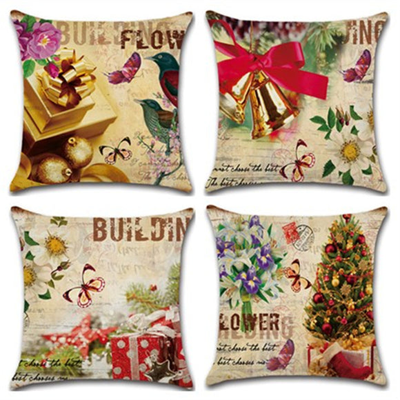 Christmas Theme Linen Pillowcase Sofa Cushion Pillowcase Home Textiles