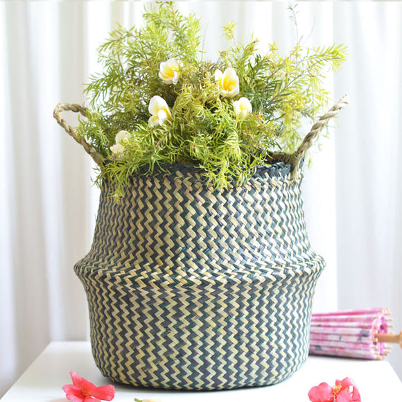 Seaweed Hand Woven Folding Plant Flowerpot Home Decor Folding Storage Basket Dirty Clothes Basket