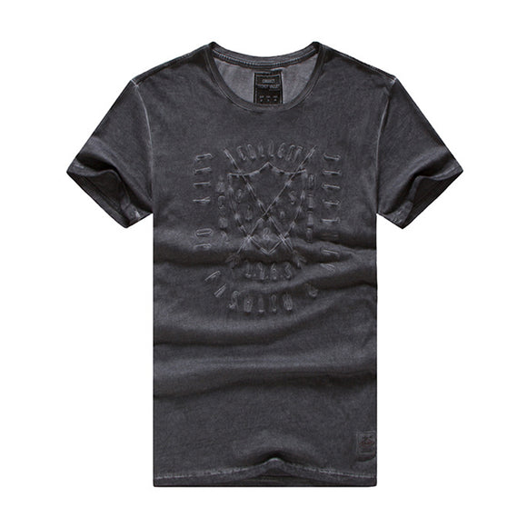 Men's Summer Embroidery Washed Vintage Short Sleeve T-shirt