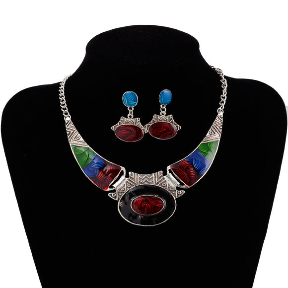 3pcs/set Fashion Vintage Geometry-shaped Pendant Women's Necklace Earrings Jewelry Sets
