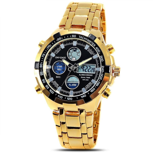 Men's metal double movement electronic watch
