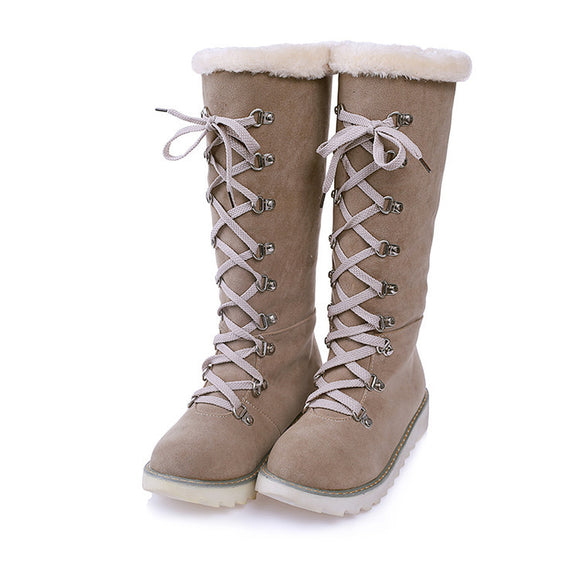 Women's Fashion Plus Size Winter Warm Suede Lace-up Snow Boots Casual Shoes