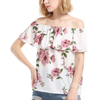 Women Short Sleeve Blouse Ruffles White Off Shoulder Tops