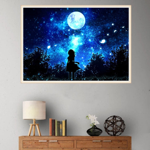 5d Diamond Painting Night Girl Cross-stitch Crafts Ornaments Diy Mosaic Painting