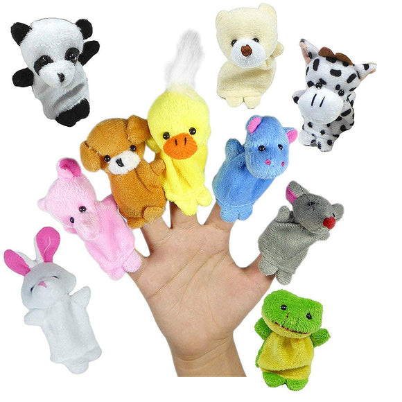 10pcs Different Mini Cartoon Animal Finger Puppets Soft Velvet Dolls Props Toys