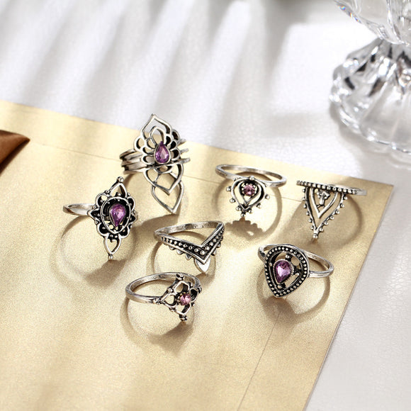 Women/'s Fashion Butterfly Adjustable Ring Purple Crystal Finger Ring Jewelry
