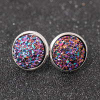 1 pair 14mm Round Shape Stone Stud Earrings crystal Stud Earrings for Women Jewelry Gifts