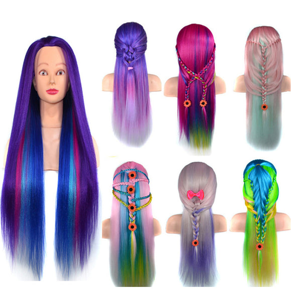 Fancy Colorful Synthetic Straight Hair Mannequine Head for Hair Braiding Practice