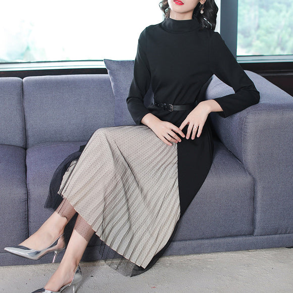 Women Long Sleeve Split Bottom Top Pleated Skirt Belt Set