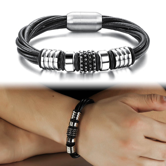 1PC Fashion Simple Stainless Steel Men's Leather Bracelet