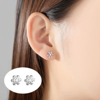 1 Pair Ladies Silver color Snow Stud Earrings For Women Earring Lovely Lady Fashion Jewelry