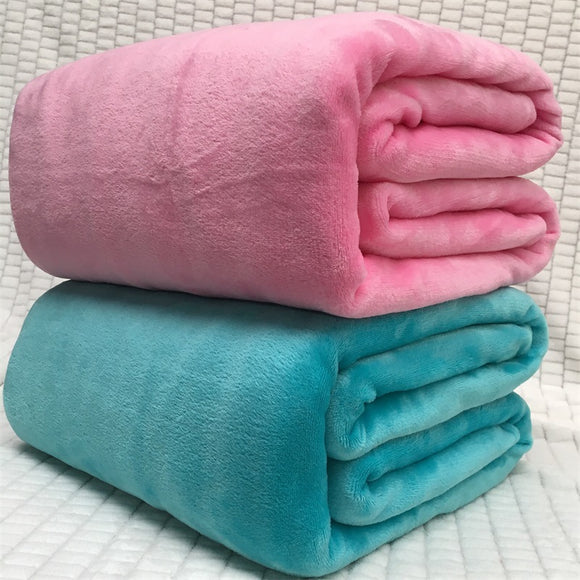 Solid Color Warm Flannel Coral Fleece Blanket Plain Smooth Home Textiles