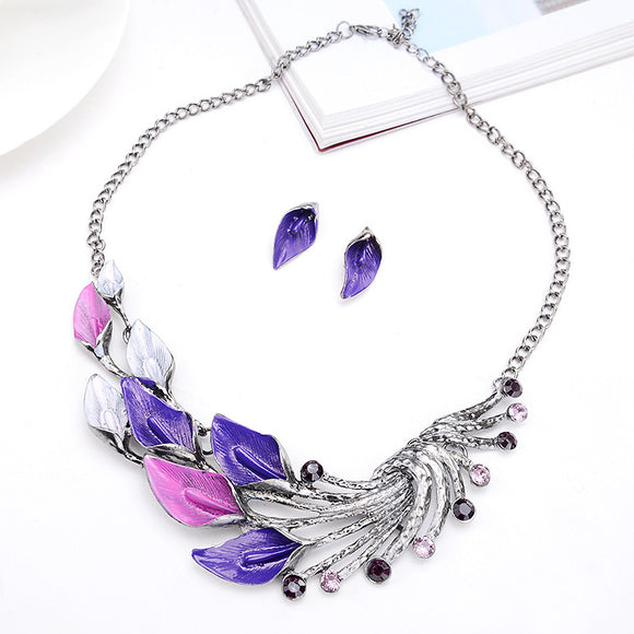 3pcs/set Fashion Peacock Tail Shaped Pendant Women's Necklace Earrings Jewelry Sets