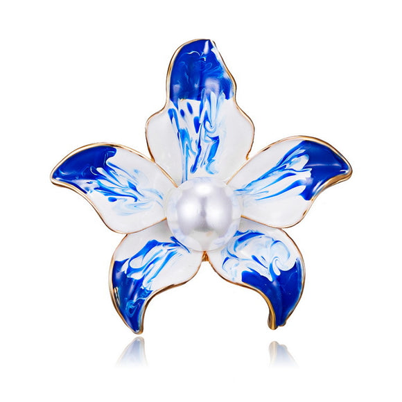 Fashionable Top Grade Blue Elegant Flower Brooch