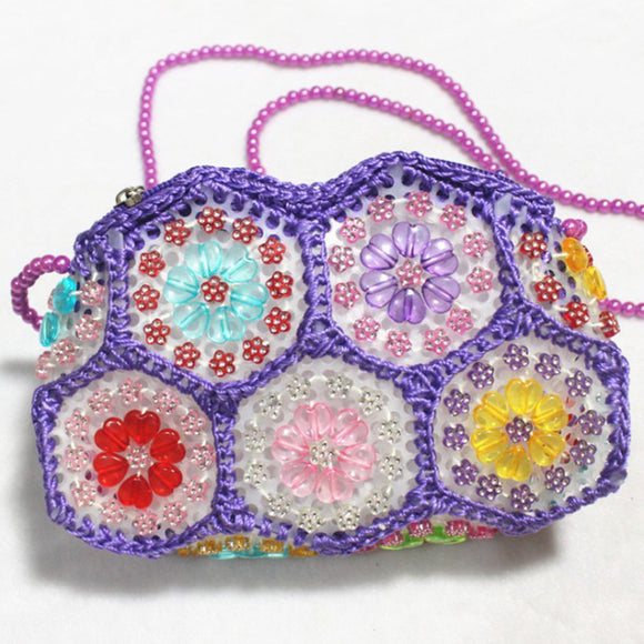 Woman Girl Single Shoulder Slung Handmade Bag Beaded Bag Pearl Bag