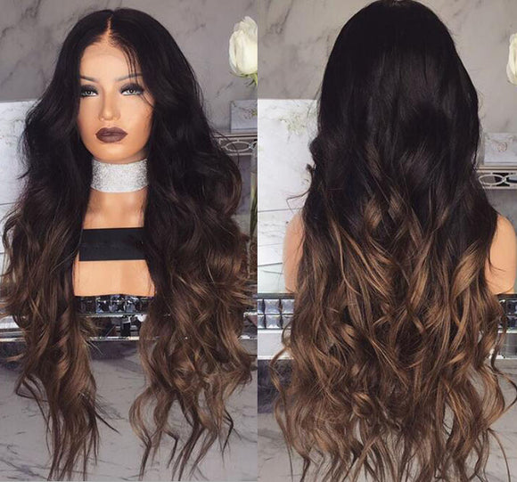 Long Center Parting Ombre Wavy Enchanting Synthetic Wig