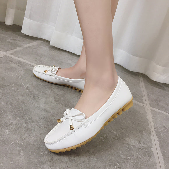Women's Casual Shoes Woman Loafers Slip-On Flats Moccasins Bowknot Shoes