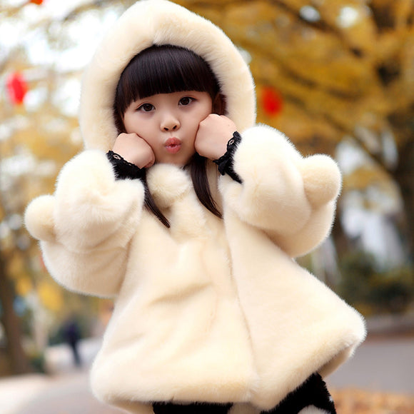 Girls' Sweet Hooded  Faux Fur  Coats