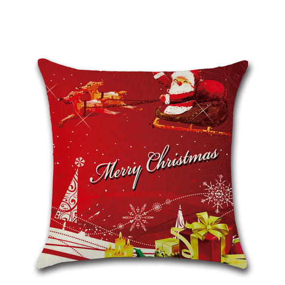 Christmas Theme Linen Hug Pillowcase Sofa Cushion Pillowcase Home Textiles