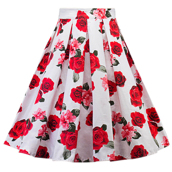 Woman Rose Printting Vintage Skirt Fashion Skirt