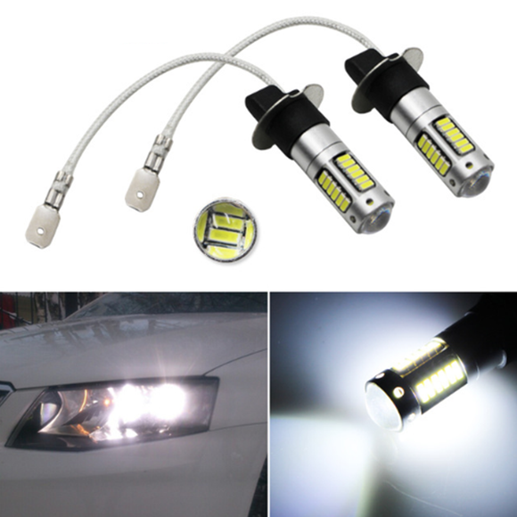 2pcs High Power White 30-smd 4014 H3 Led Replacement Bulbs For Car Fog Lights, Daytime Running Light