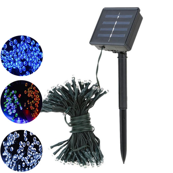 100led  Solar Energy Outdoor Indoor Led Waterproof Color Light String Holiday Decoration