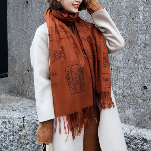 Autumn And Winter Vintage Print Soft Scarf