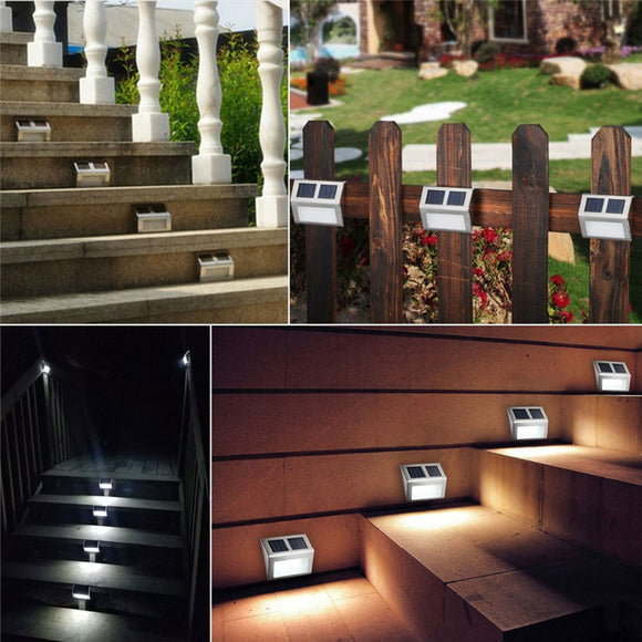 2led Stainless Steel Solar Staircase Light Fence Courtyard Wall Light