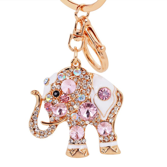 Cute Elephant Car Key Decoration Accessory Golden With Multi Color Crystal Car Decoration Pendant
