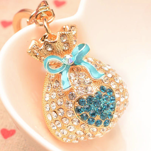 Cute Bag Car Key Chain Decoration Accessory Golden With Multi Color Crystal Car Decoration Pendant
