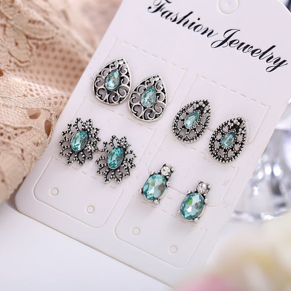 4 Pair Bohemia Flower Rhinestone Insert Geometric Hollow Earrings
