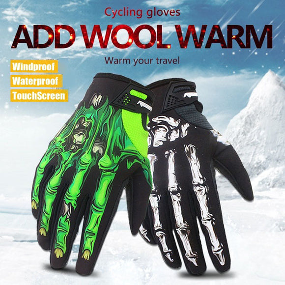 Winter And Autumn Skeleton Bones Windproof Waterproof Touch Screen Sports Glove