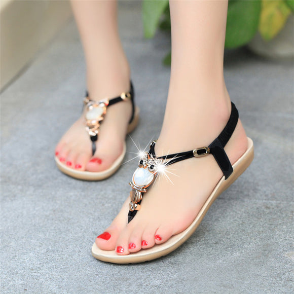 Bohemian Beaded Women Flat Sandals Clip Toe Sexy Sandals Fashion Ladies Shoes